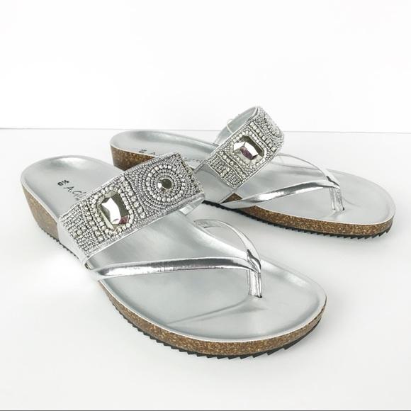 3b1a96838e81 A. Giannetti Silver Bead Platform Sandals Italian